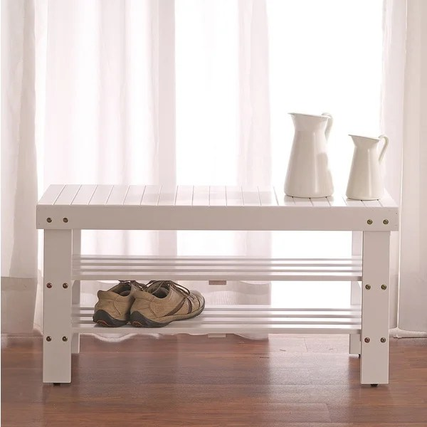 Shop White Solid Wood Storage Shoe Bench And Shelf Free