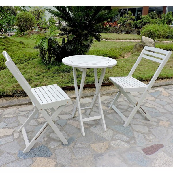 Buy White  Wood Outdoor Bistro Sets Online at Overstock com   Our     International Caravan Royal Fiji Acacia 3 piece Folding Bistro Set