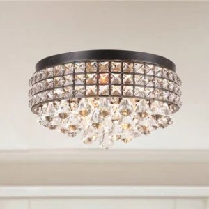 Buy Flush Mount Lighting Online at Overstock com   Our Best Lighting     Silver Orchid Taylor Iron Shade Crystal Flush Mount Chandelier