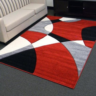 Shop Hollywood Design 284 Abstract Wave Design Red Area Rug  5x7     Hollywood Design 284 Abstract Wave Design Red Area Rug  5x7    5