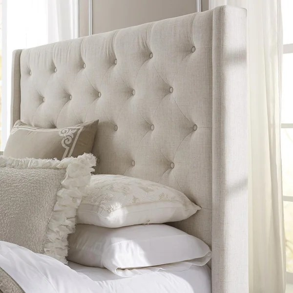 Shop Wingback Button Tufted Cream Queen Size Upholstered Headboard     Wingback Button Tufted Cream Queen Size Upholstered Headboard
