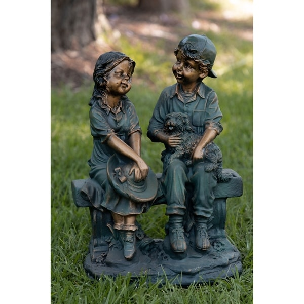 Shop Girl And Boy Sitting On Bench With Puppy Statue