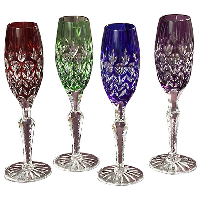 Shannon 'Dynasty' Colored Crystal Champagne Flutes (Set of ...