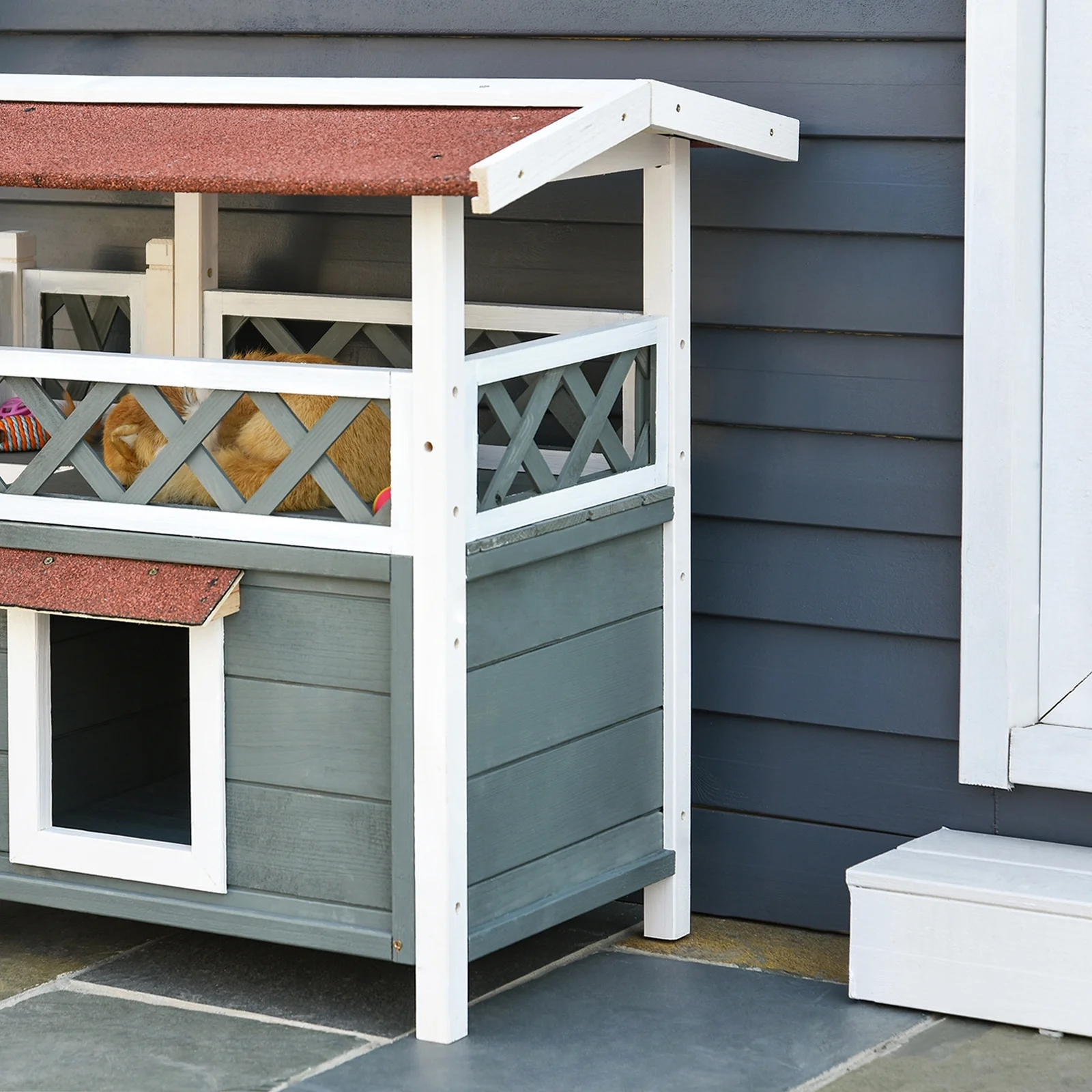 Shop Pawhut 2 Story Solid Wood Cat House Condo Shelter With Sisal | 2 Story House With Stairs Outside | Dark Grey | Traditional | Roof Terrace | Unique | Covered Deck