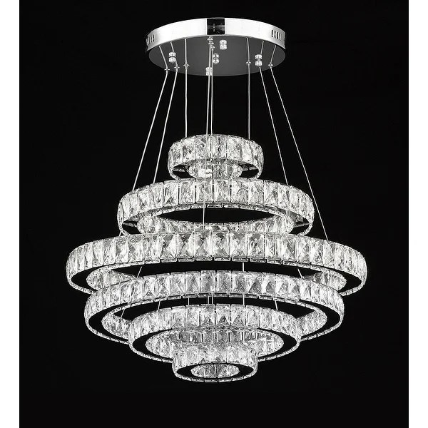 Shop Crystal Elipse 6 Ring Chandelier Led Modern
