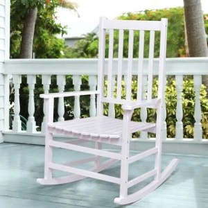 White  Wood Patio Furniture   Find Great Outdoor Seating   Dining     Costway Solid Wood Rocking Chair Rocker Porch Indoor Outdoor Patio  Furniture White