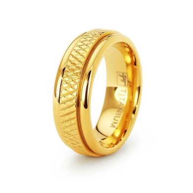 Shop Gold Plated Womens Titanium Wedding Band   Size 6   Free     Gold Plated Womens Titanium Wedding Band   Size 6