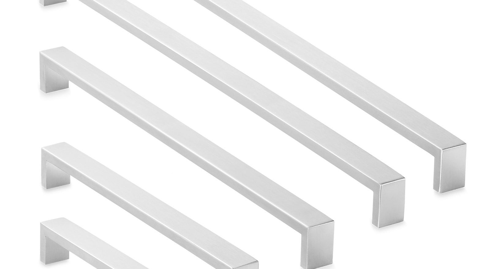 Shop Stainless Steel Cabinet Hardware Brushed Satin Nickel | Brushed Stainless Steel Handrail | Rectangle | Glass Panel Wooden Handrail | Brushed Chrome | Matte Finish | Flat Bar Steel