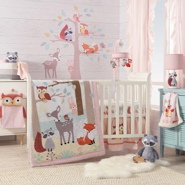 Shop Lambs & Ivy Little Woodland Forest Animals Coral ...