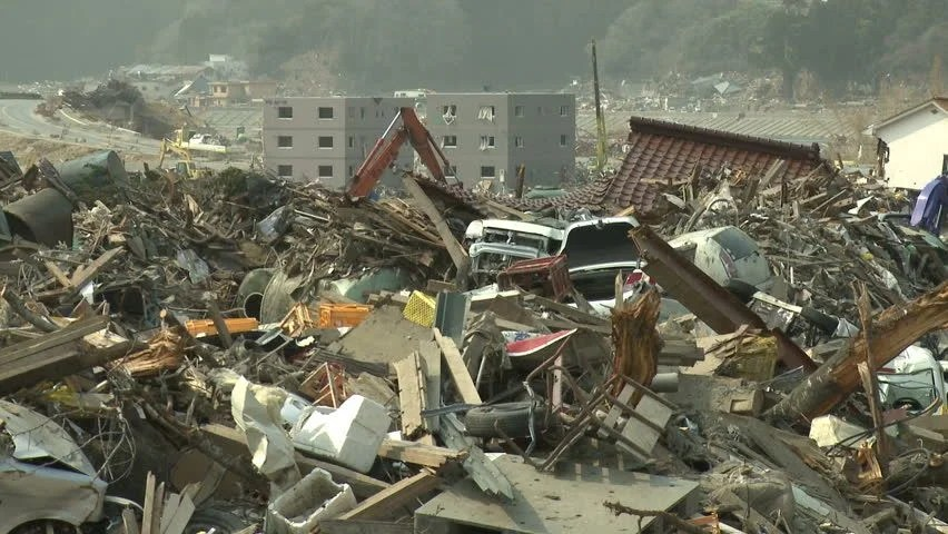 Stock Video Clip Of Tsunami Aftermath Destruction In Japan