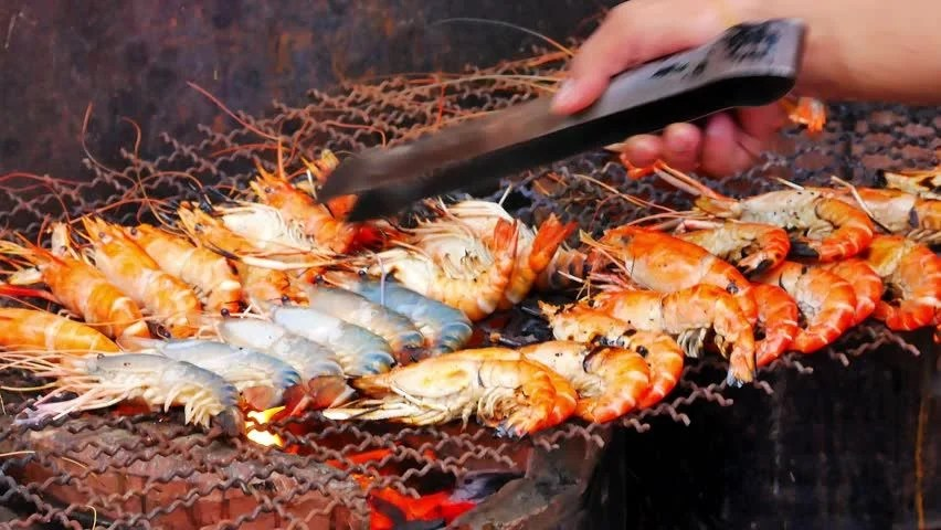 Grilling Shrimps On Barbecue Hand Stock Footage Video