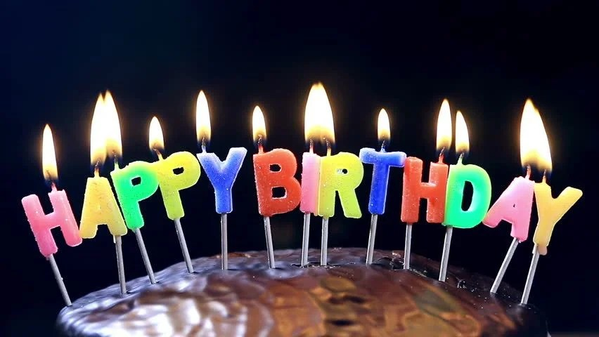Stock Video Of Lighted Candles On A Happy Birthday