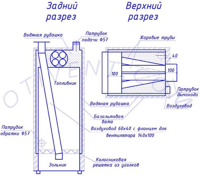 Dibujo del generador de calor de madera en la sección con dimensiones.