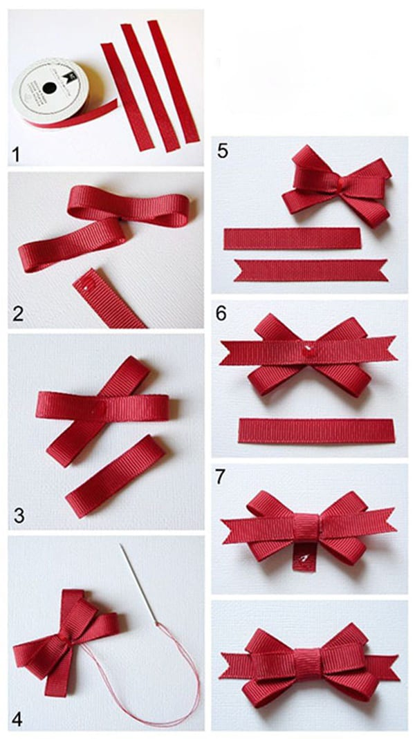 私たちはリボンから弓を作ります