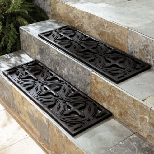 Villa Rubber Outdoor Stair Treads Set Of 4 | Outdoor Rubber Stair Treads | Outside | Metal Tray | Rectangular Cord Treads | Clear Rubber | Heavy Duty