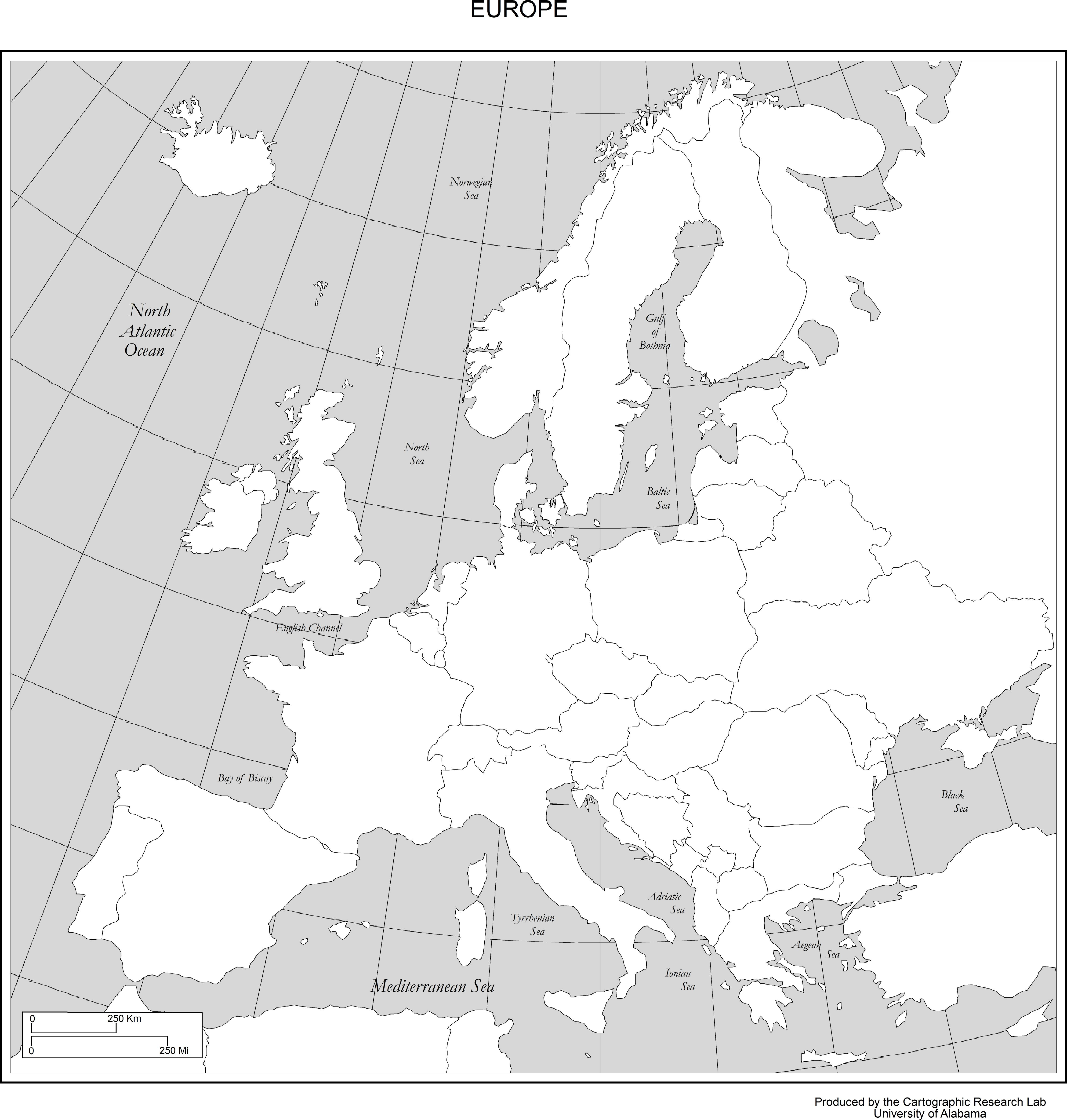Country Map Borders Names Or European Without