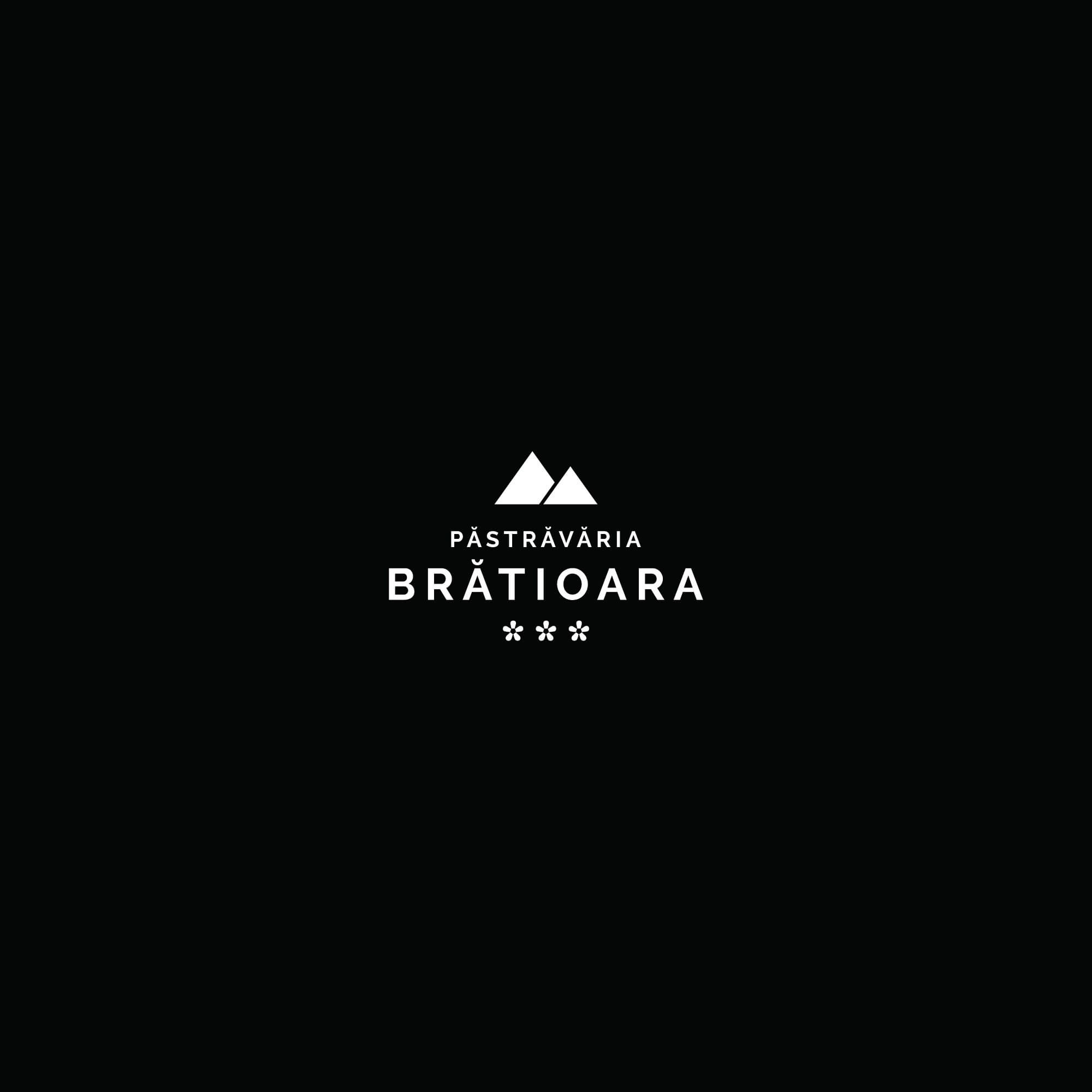 Logo Pastravaria Bratioara black background, trout farm in the mountains, a relaxing place with amazing scenery.