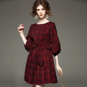 Fasicat-New-Brand-Retro-Women-Plaid-Dress-Lantern-Sleeve-Sashes-Front-A-Line-Pleated-Dresses-Ladies2