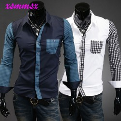 015-Long-sleeve-Turn-down-Collar-plaid-Patchwork-Single-Breasted-casual-shirt-men-clothes-mens-shirts-1