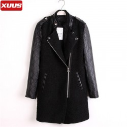 Black-Plaid-Leather-Sleeves-Wool-Blends-Stitching-Long-Womens-Winter-Jackets-and-Coats-Zipper-High-Quality-1