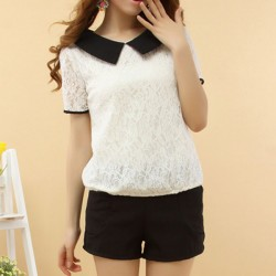 Casual-Korea-Style-Women-Slim-Lace-Lapel-Short-Sleeve-Blouse-Tops-Loose-Sailor-Collar-Summer-S-1