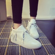 Free-shipping-fashion-trendy-casual-women-s-shoes-lace-up-High-Top-macrame-decoration-PU-flat-2