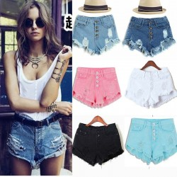 New-2015-Spring-Summer-shorts-women-high-waist-Denim-shorts-Retro-candy-colored-shorts-hole-Was-1