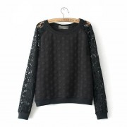 New-Women-Autumn-Casual-Lace-Sweatshirts-Round-Dot-Embossed-Tracksuit-Long-Sleeve-Ladies-Lace-Tops-EF80-2