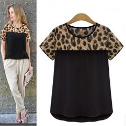 Plus-size-shirt-women-2015-new-summer-tops-short-sleeve-chiffon-blouse-leopard-print-shirt-1