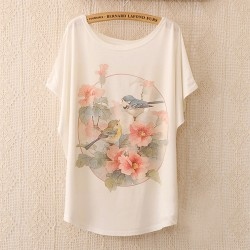 Women-Tops-T-Shirt-2015-New-Arrival-Women-s-T-Shirt-Brid-And-Flower-Print-T-1