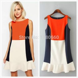 2015-Newest-Sleeveless-Hit-Color-Women-Summer-Dress-Fashion-Vestidos-Big-Brand-Splice-Design-Ruffles-Hem-1
