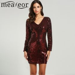 Meaneor-Sexy-Lady-Sequined-Dress-Dresses-for-all-Seasons-Elegant-V-Neck-Long-Sleeve-Bodycon-Mini-1