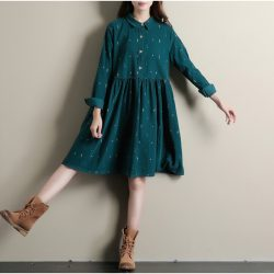 Winter-Dresses-Green-Color-Long-Sleeve-Casual-Loose-Plus-Size-Dresses-Turn-Down-Collar-Corduroy-Cotton-1