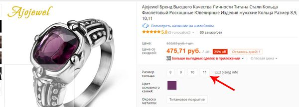 The designation of the sizes of the rings on Aliexpress