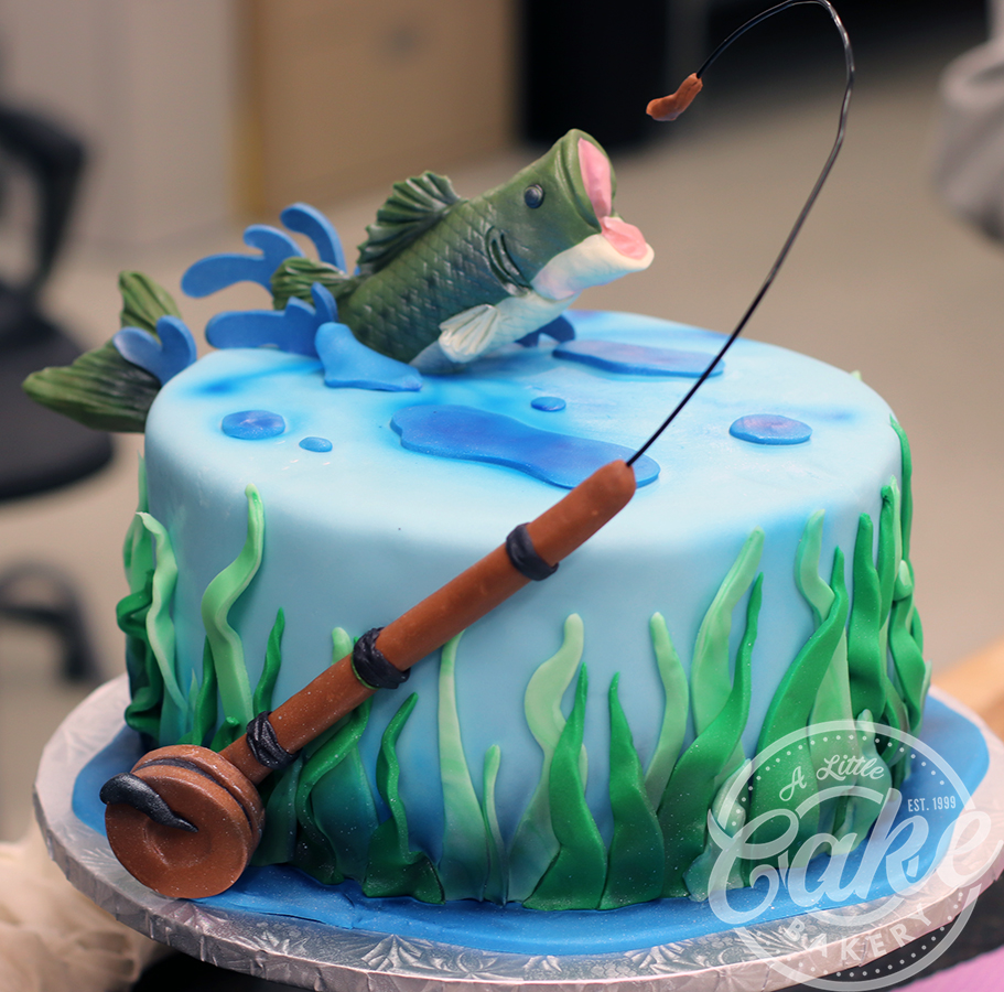 Fishing Themed Birthday Groomsmen Cake Fish Jumping Out