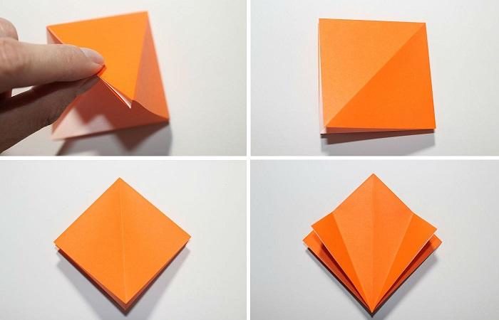 Сборка журавля из бумаги: 9-12 шаг