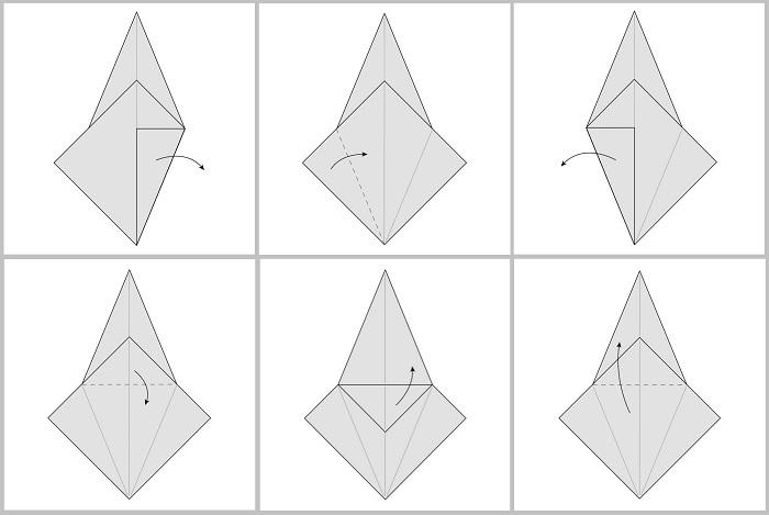 Складывание жураавля оригами: этапы 19-24