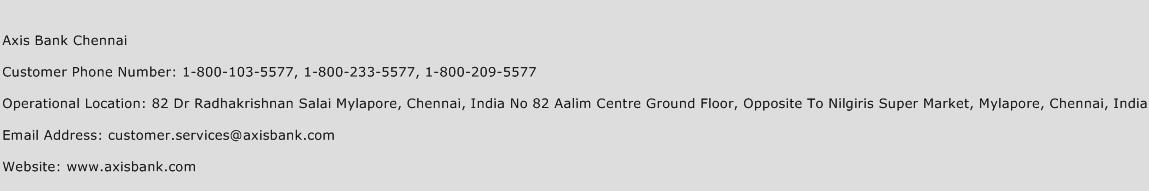 Axis Bank Personal Loan Customer Care Number Chennai