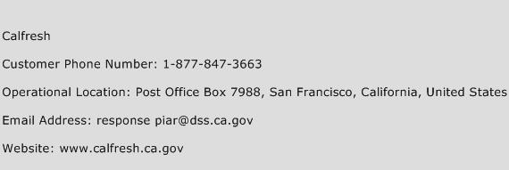Calfresh Customer Service Phone Number