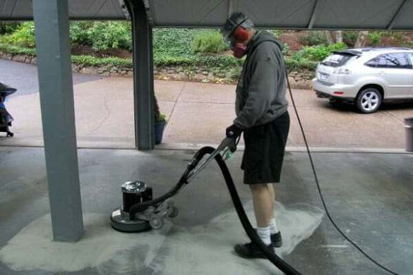 How to Grind a Garage Floor the Easy Way   All Garage Floors grinding garage floor with diamabrush rental