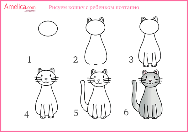 Quando criança para desenhar um gato em gradualmente