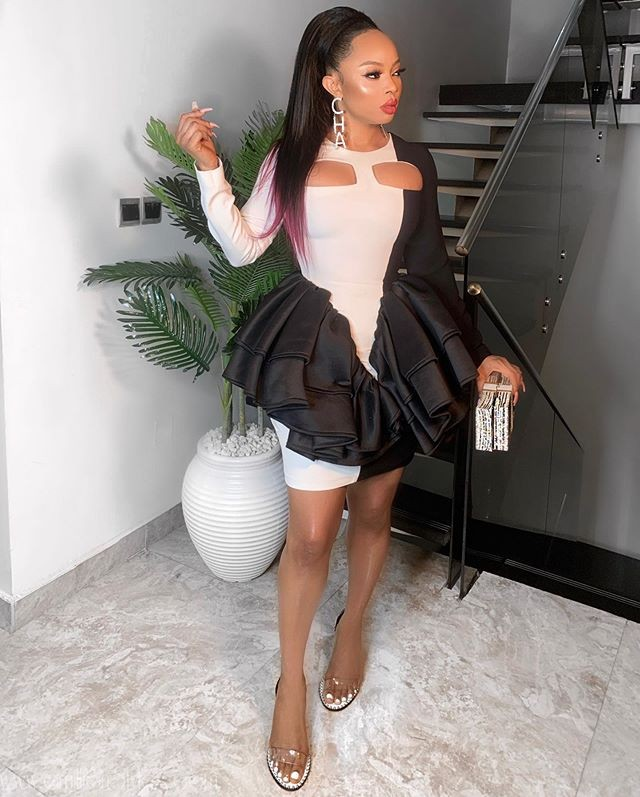 Toke Makinwa With Boujee Vibes In Monochrome Dress