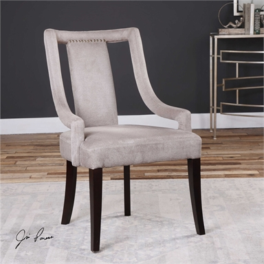 Light Brown Suede Open Back Accent Chair Reflections Of