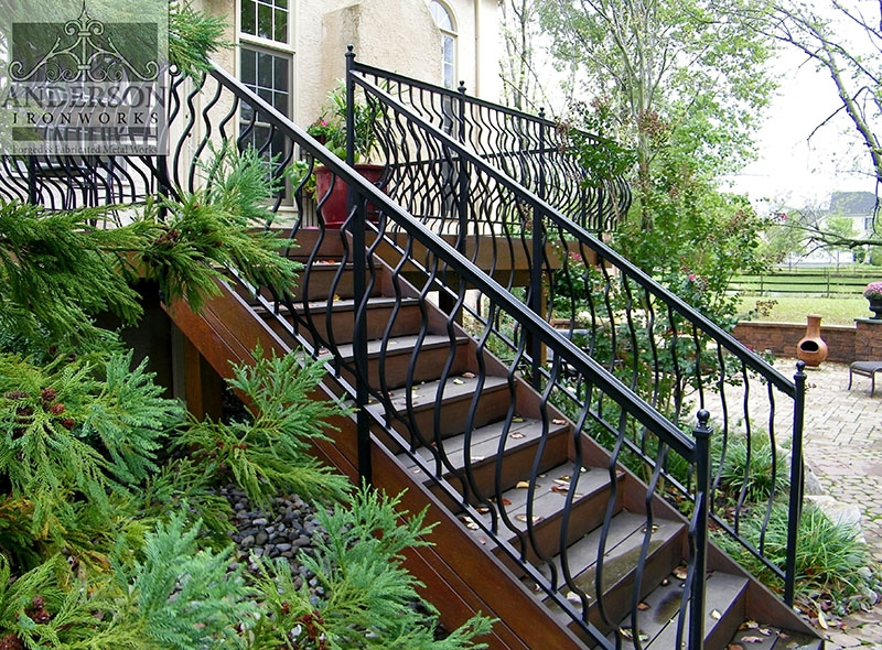 Wrought Iron Railing Custom And Pre Designed Anderson Ironworks | Outdoor Wrought Iron Stair Railing Near Me | Aluminum Railings | Railing Steel | Front Porch Railings | Railing Designs | Custom