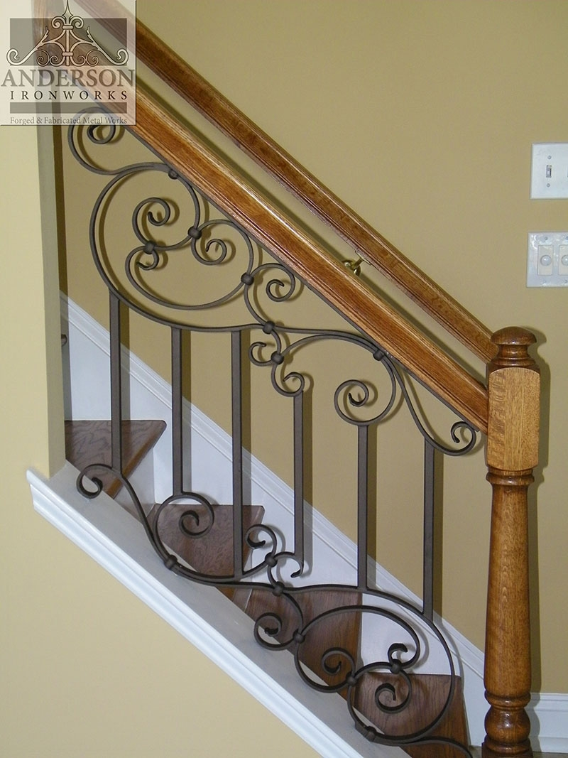 Wrought Iron Railing Custom And Pre Designed Anderson Ironworks | Wrought Iron And Wood Stair Railing | Decorative | Iron Rail | Stairway | Wood Cap | Hand