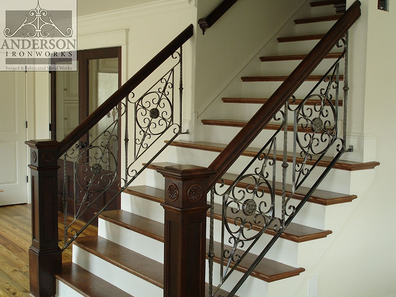 Wrought Iron Railing Custom And Pre Designed Anderson Ironworks | Wrought Iron Stair Railing Near Me | Wood | Railing Ideas | Spindles | Ornamental Iron | Iron Balusters