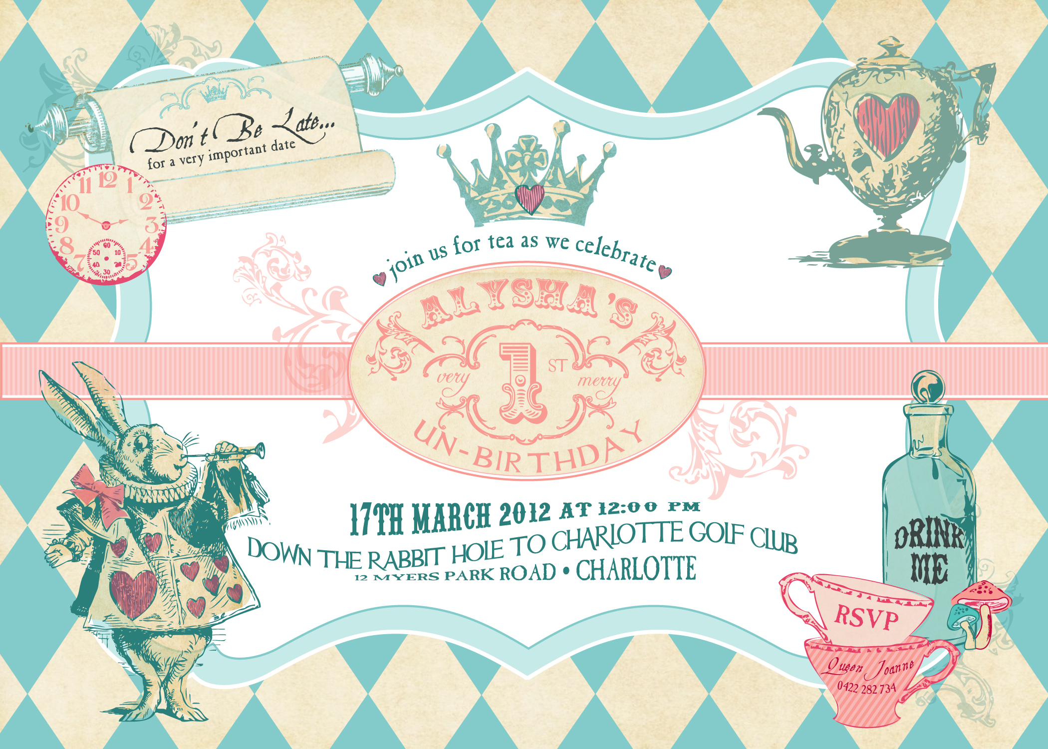 Mad Hatter Tea Party Baby Shower Invitations