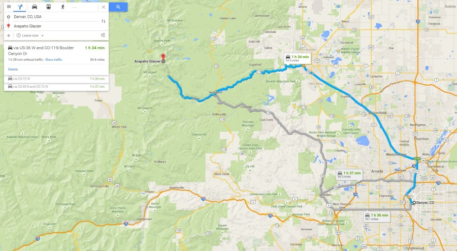 The Top 10 Places to Hike in Colorado   Andrew Murray     Google Maps Driving Route to Arapaho Glacier