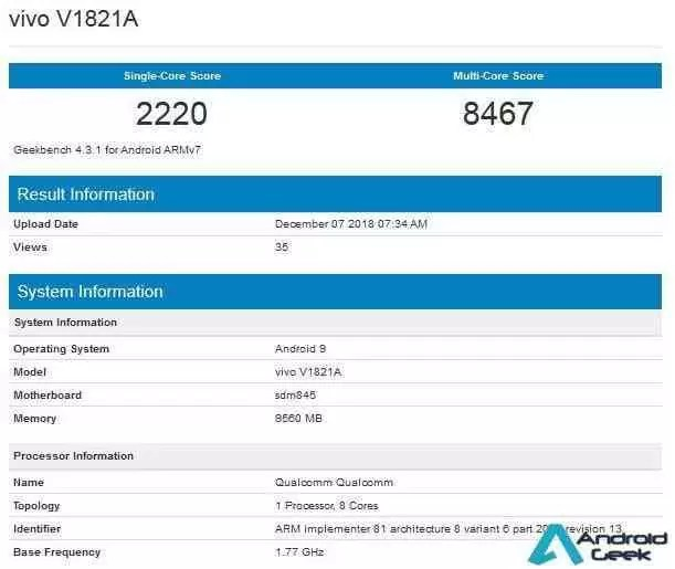 Vivo NEX 2 no Geekbench confirma o Snapdragon 845 e 10 GB de RAM 1