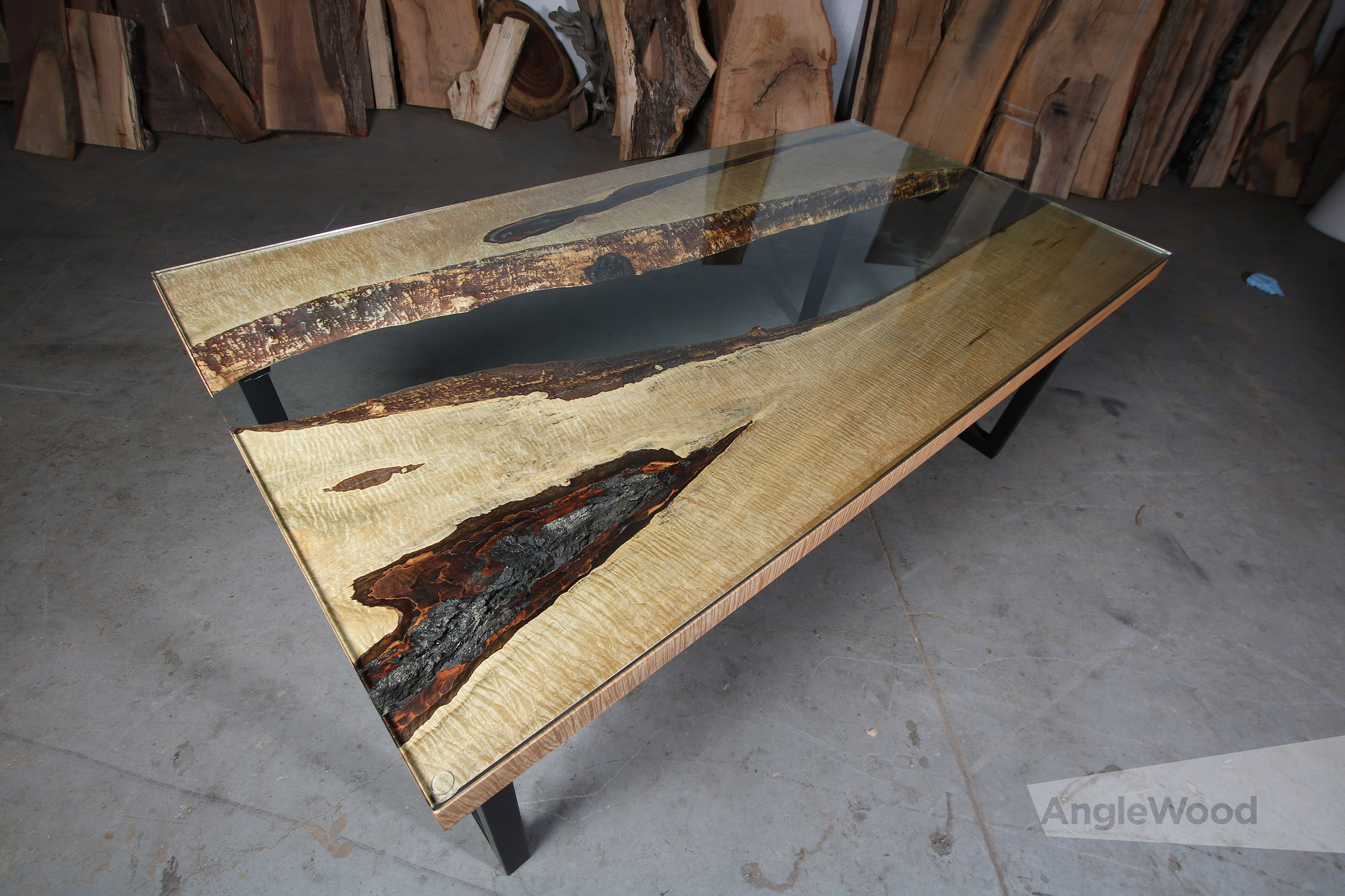 Maple Live Edge Glass Top River Table U Shape Legs